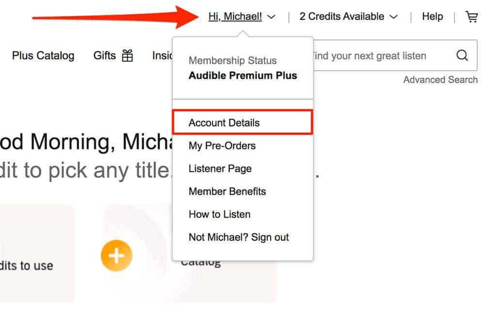 Select Account details
