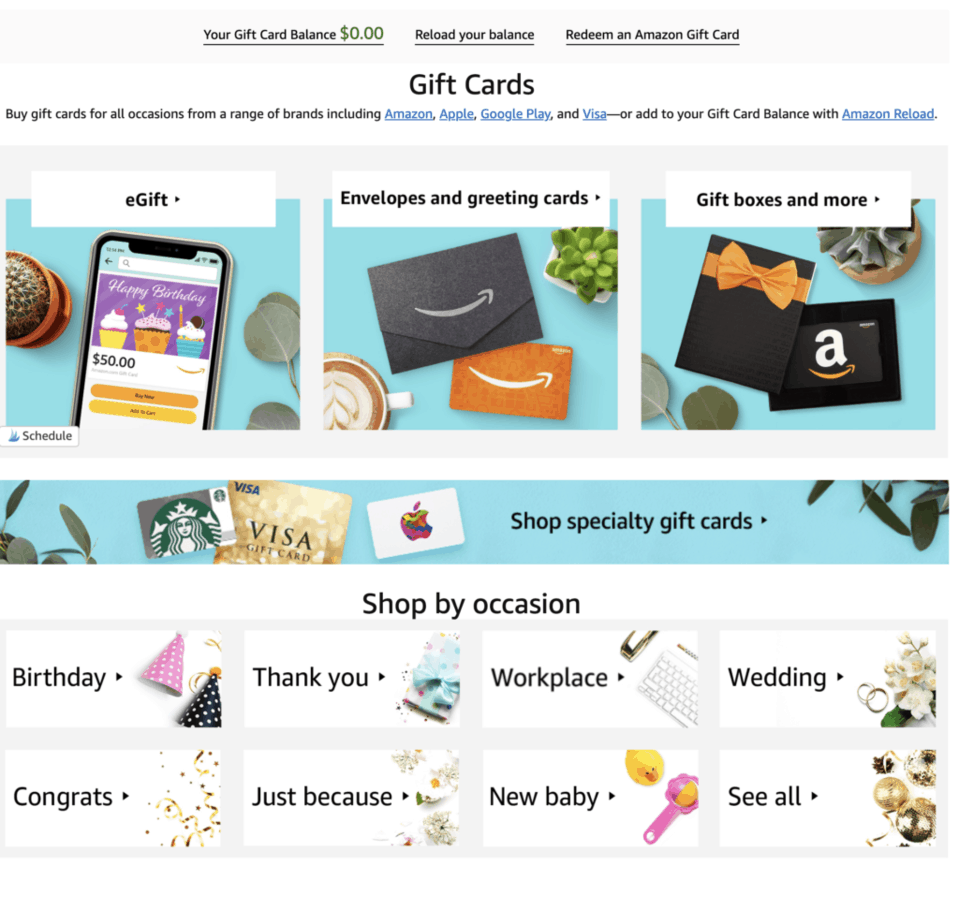 shop for an Amazon gift card