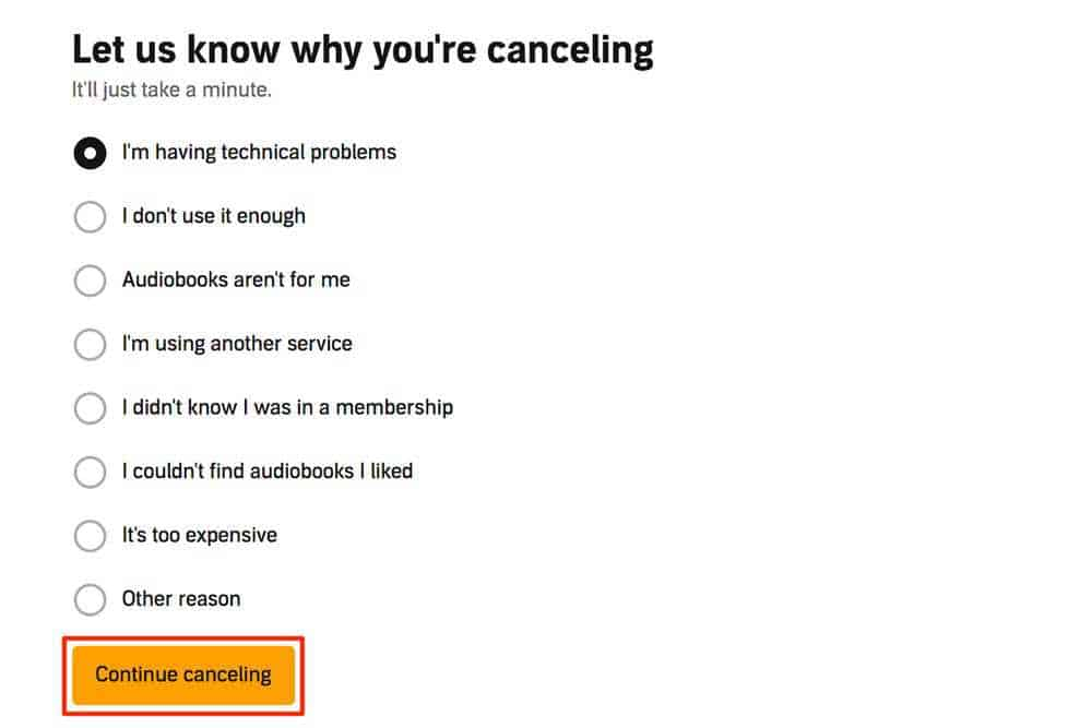 Continue Canceling