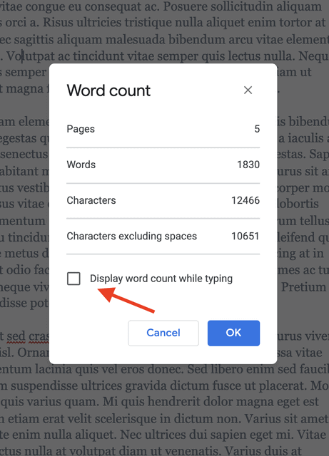 Display word count