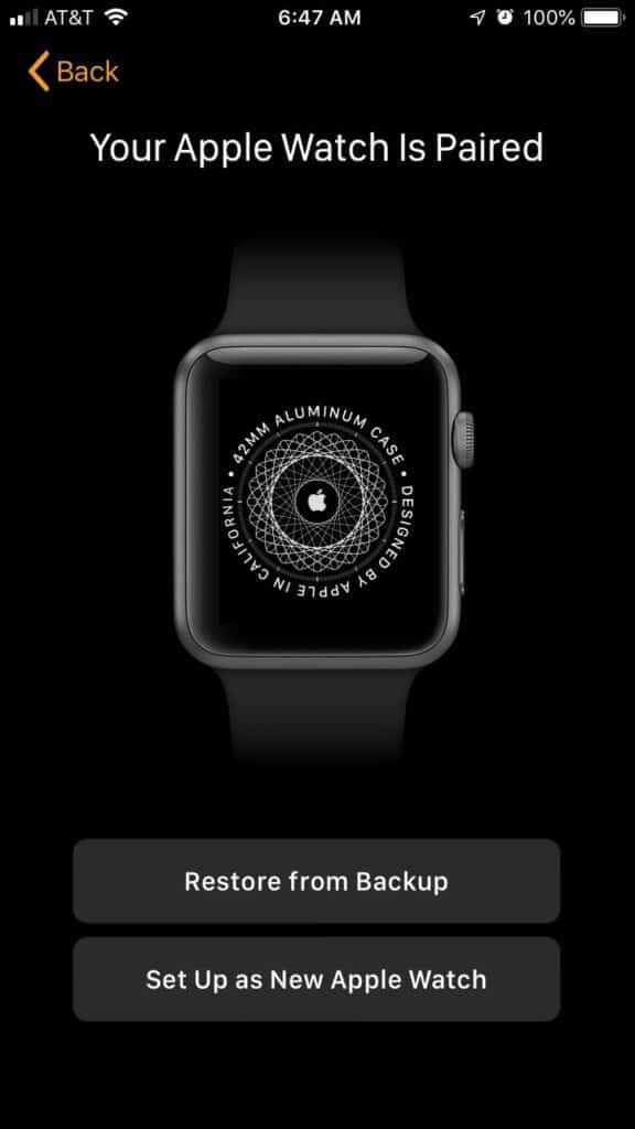 restore your watch from a backup
