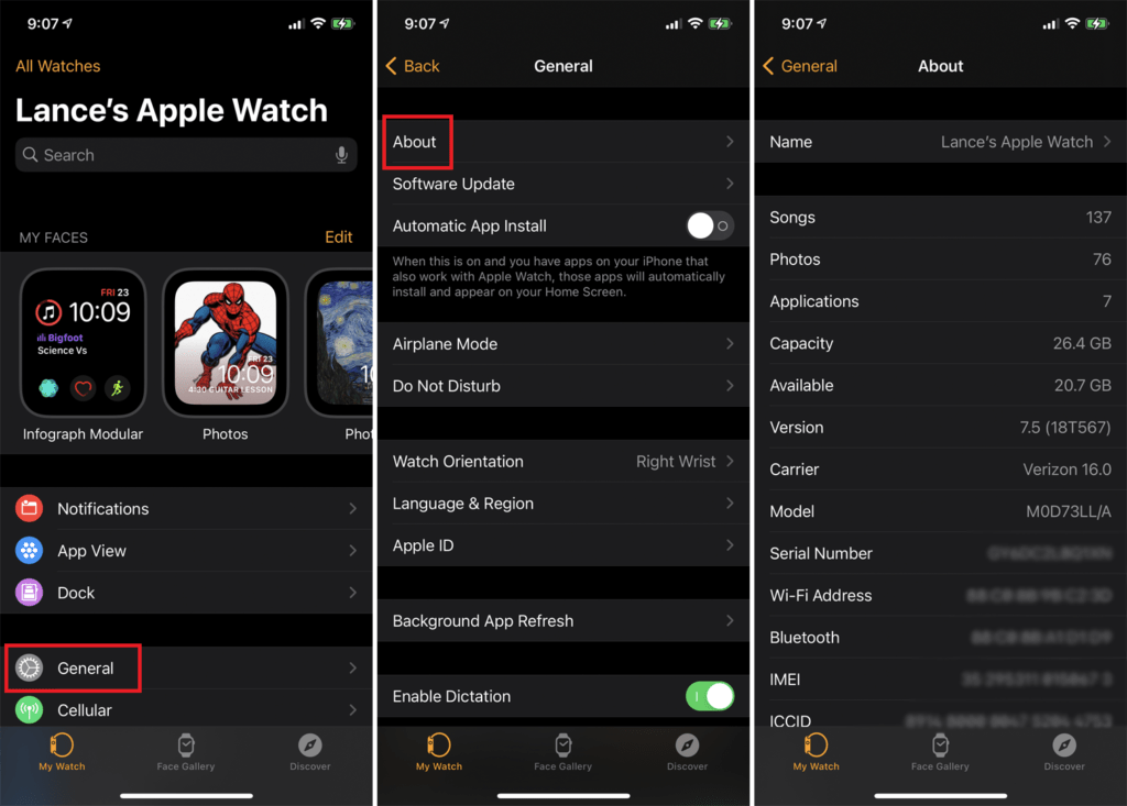 check Apple Watch storage from your iPhone