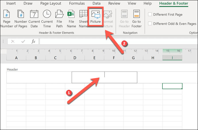 To add a watermark in Excel, select your header or footer, then press Header & Footer > Picture.