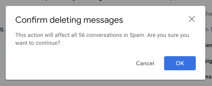 Confirm deleting all spam messages
