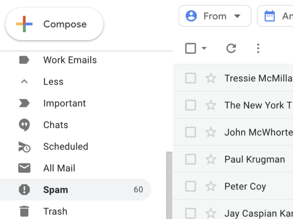 Location of spam folder in Gmail