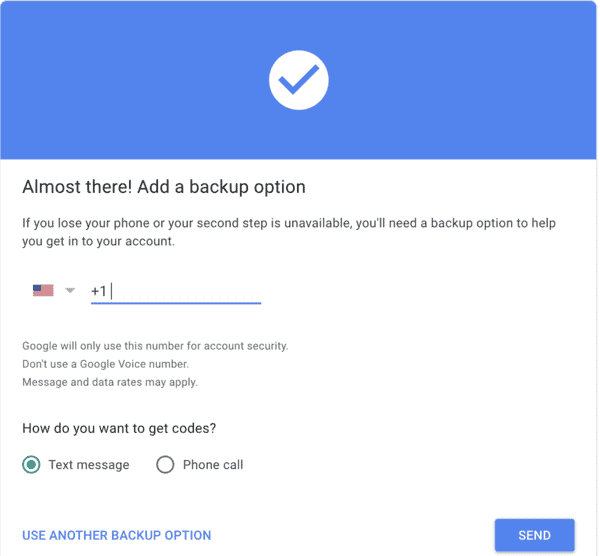 Add a backup number to a Google account