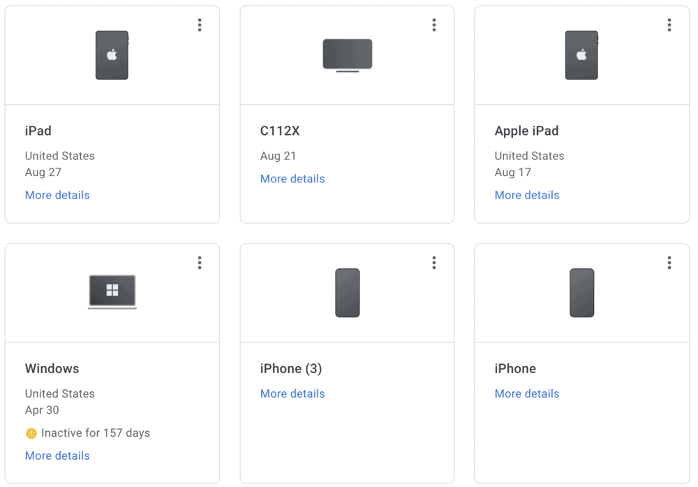 Gmail list of signed in devices