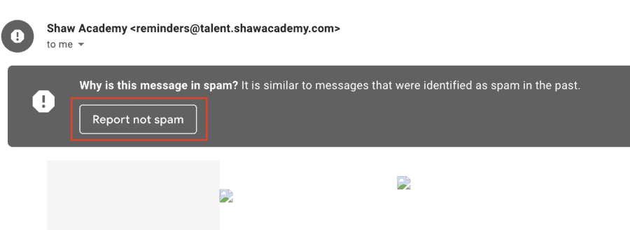 Report a message incorrectly labeled as spam
