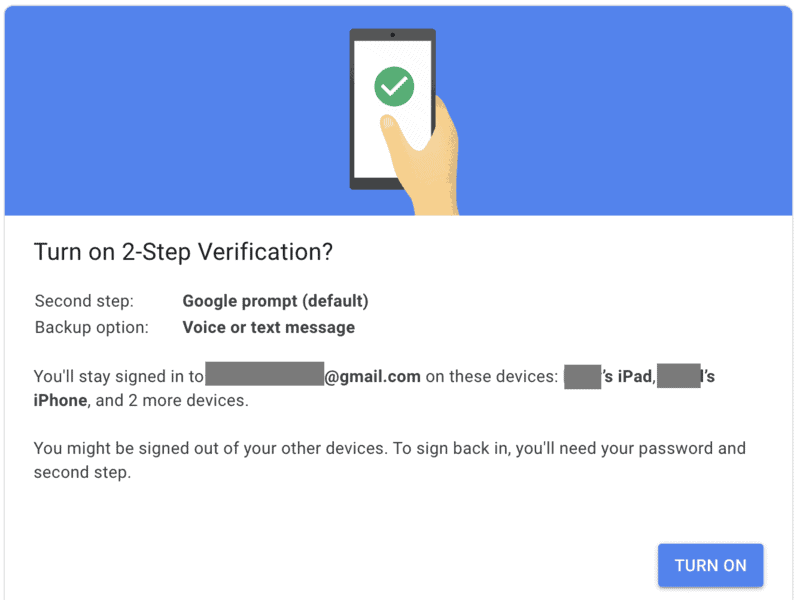 Turn on 2-Step Verification in Gmail
